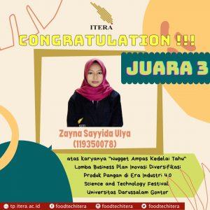 Zayna, Mahasiswi Teknologi Pangan ITERA Membawa Ampas Tahu Menjadi Juara