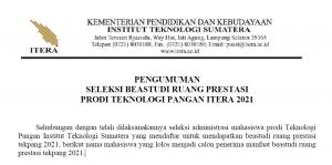 PENGUMUMAN SELEKSI BEASTUDI RUANG PRESTASI 2021