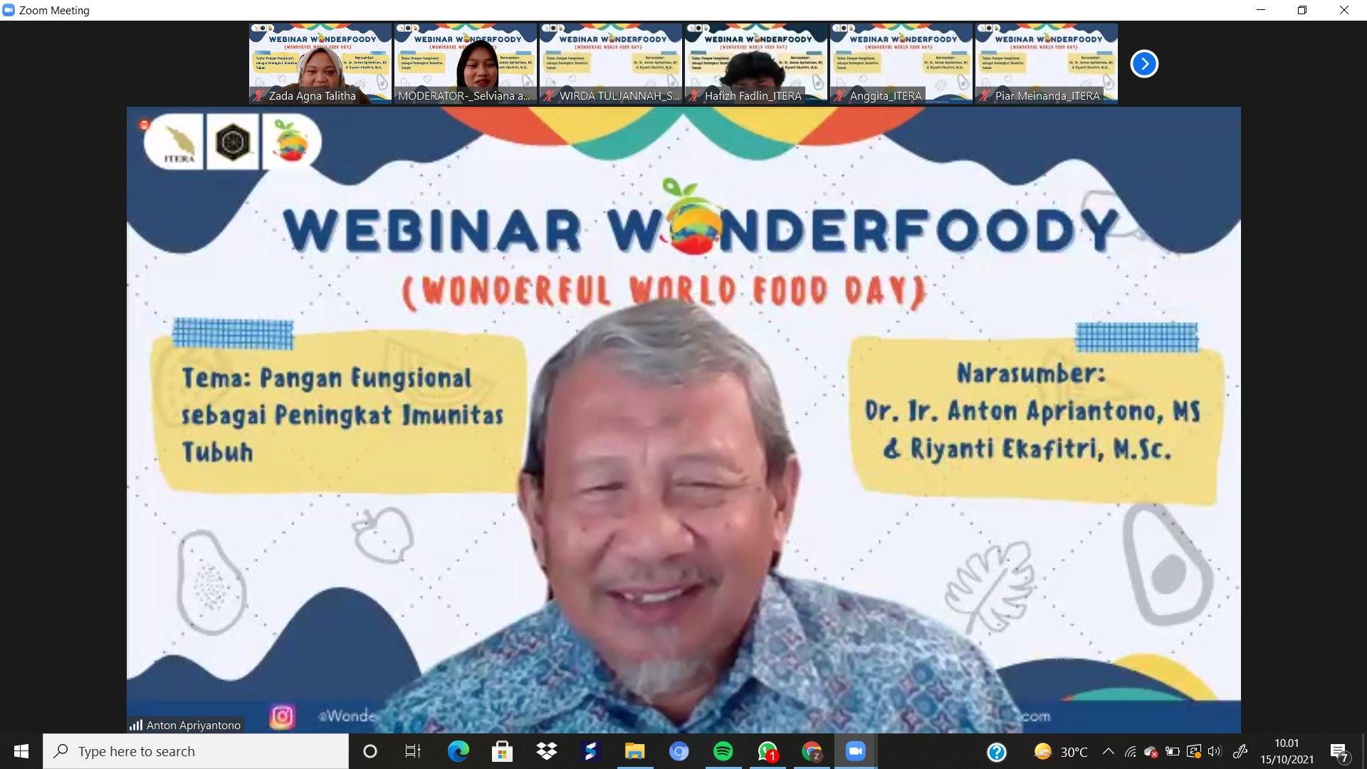 Read more about the article Prodi Teknologi Pangan ITERA adakan webinar pangan fungsional untuk memperingati Hari Pangan Sedunia 2021